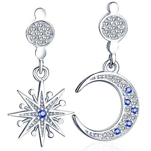 Unendlich U Glänzend Stern Mond Damen Ohrhänger 925 Sterling Silber Zirkonia Ohrringe Ohrstecker Ohrschmuck, Silber+Blau