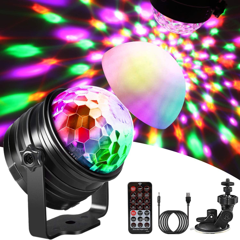Luces de Discoteca Luz nocturna,Emooqi Bola de discoteca 6 Colores ...
