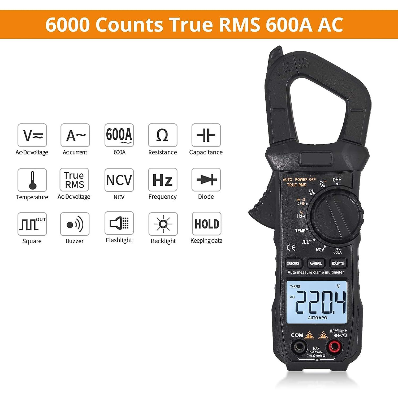 Proster Pince amp/èrem/étrique num/érique TRMS 6000counts 600A CC Courant AC//DC Tension NCV Continuit/é R/ésistance Capacit/é Fr/équence Diode Hz Test
