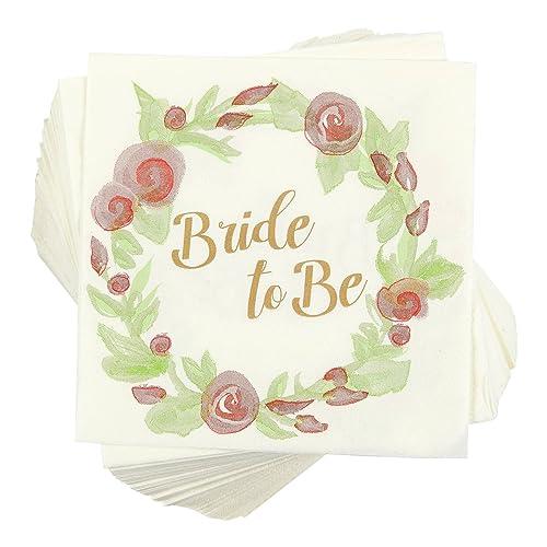floral bridal shower table decorations 100 pack cocktail napkins bride to be floral design disposable paper party napkins
