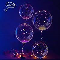 LEEHUR 18 Pollici LED BoBo Palloncino, trasparente Palloncini con LED Luce Stringa per Party, Compleanni, Matrimoni, Natale,Decorazioni di Festa e Cerimonia Celebrazione (4 pz)