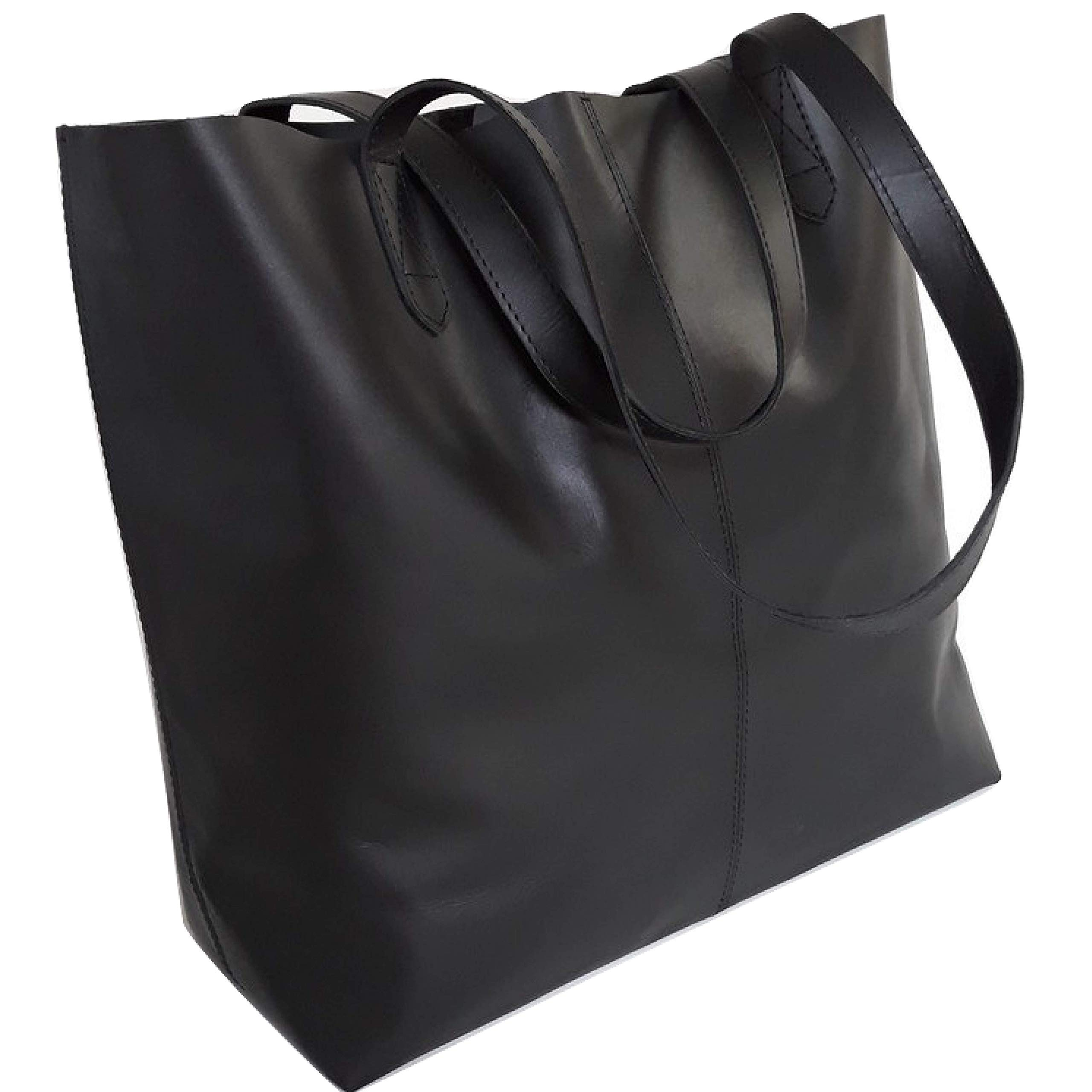 Genuine Leather Tote Bag, Large Everyday Shoulder Bag for Work, Shopping, Gym or Travel (Black with Stitching)