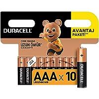 Duracell Alkalin AAA İnce Kalem Piller, 10'lu paket