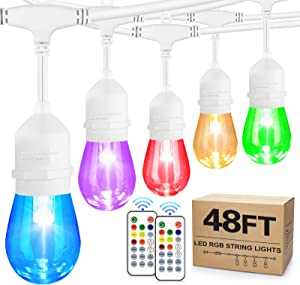 48FT Colorful Outdoor String Lights, RGB Cafe LED String Light with 15+3 E26 Shatterproof Edison Bulbs Dimmable, Commercial Light String for Patio Backyard Garden, 2 Remote Control, White Wire