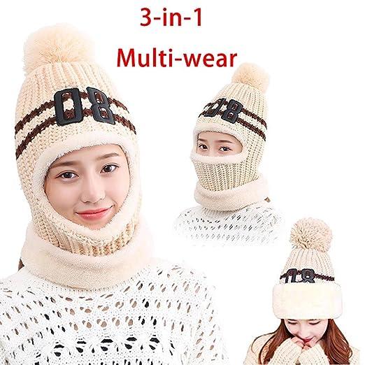 Balaclava Ski Face Mask Winter Hat Windproof Motorcycle Neck Warmer Soft  Fleece Thicker Knitted Beanies Cap 3d371de42b6