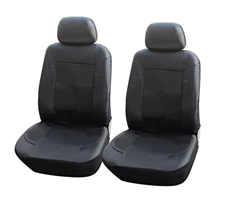 115301 Black Leather Like 2 Front Car Seat Covers Compatible To Jeep Wrangler Unlimited