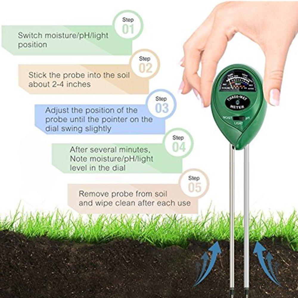 keine Batterie erforderlich 3-in-1 Bodentester Feuchtigkeit Meter Digitales Pflanzen Boden pH Meter Feuchtigkeitsmesser Lichtst/ärke Meter Tester f/ür Gartenbau Pflanzen Wachstum Rasenpflege Hmjunboys