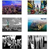 UNIVERSAL SOUVENIR 6 Set New York NYC Souvenir Photo Picture Fridge Magnets 2 x 3 inch - Pack of 6