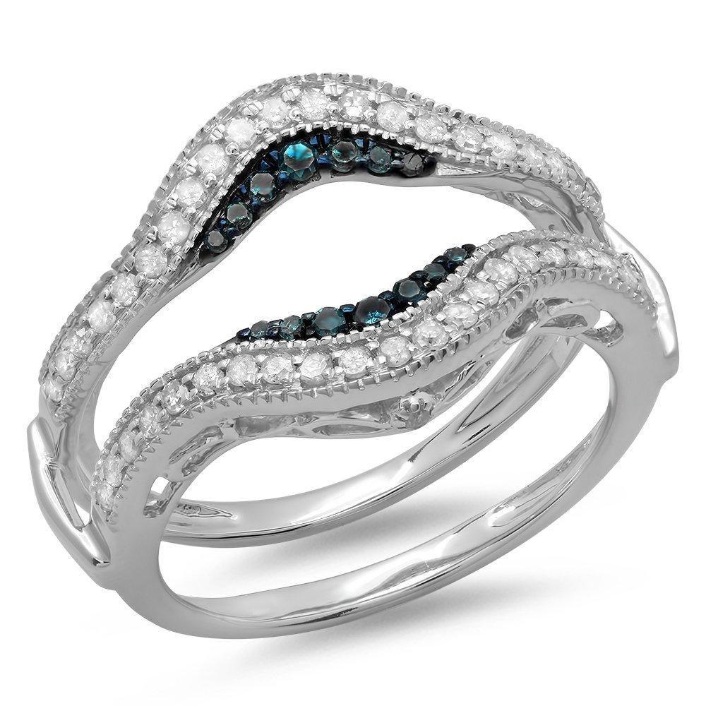Dazzlingrock Collection 0.50 Carat (ctw) 10K Round Blue & White Diamond Wedding Guard Double Ring 1/2 CT, White Gold, Size 8.5