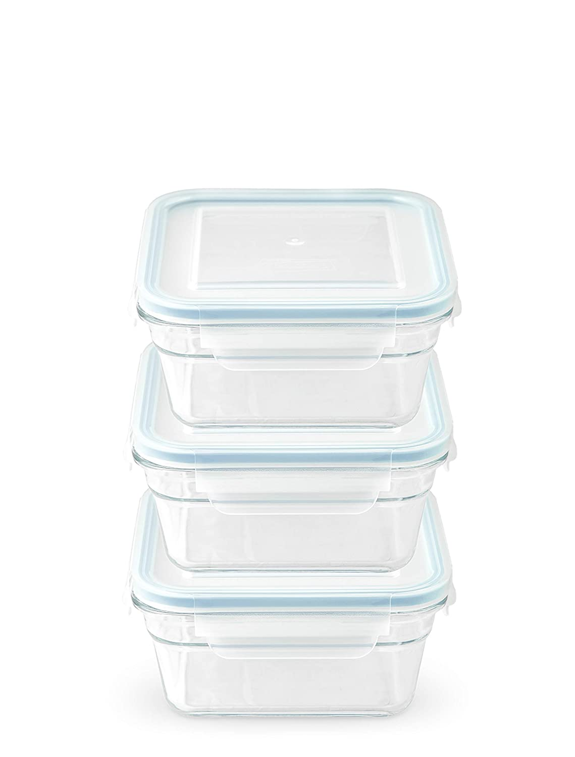 Snaplock Lid Tempered Glasslock Storage Square Container Airtight 3 Container Set Anti Spill Microwave & Oven Safe 1.5cups/355ml