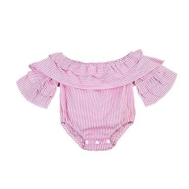 9c009c698 Amazon.com  Urkuteba Baby Girl Striped Off Shoulder Lotus Leaf ...