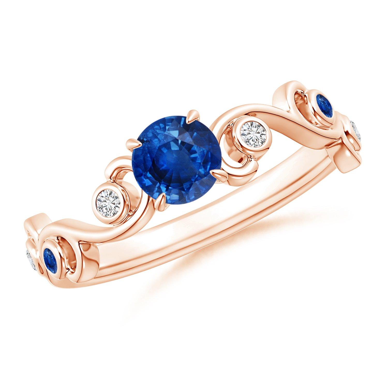 Angara Blue Sapphire and Diamond Ivy Scroll Ring YW4ptP
