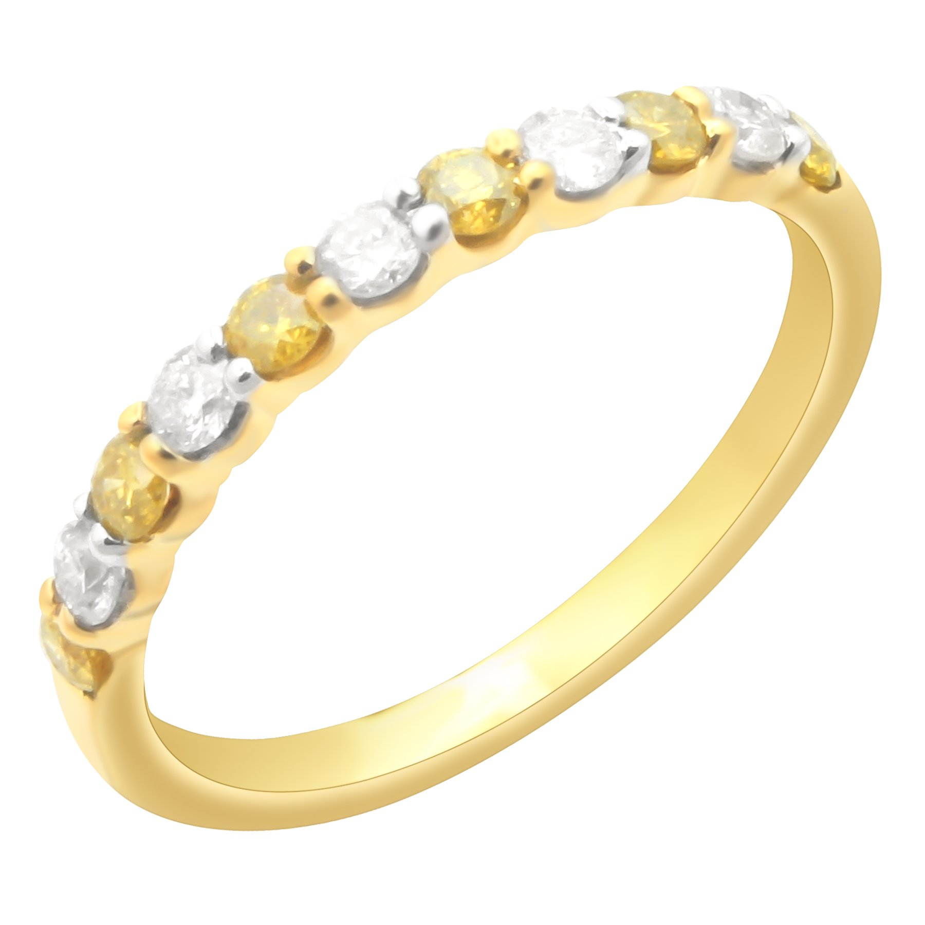Prism Jewel 0.50Ct Prong Set Yellow Diamond & Natural Diamond Wedding Band, Yellow Gold Plated Silver, Size 5