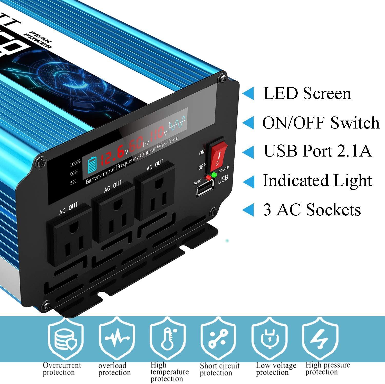 HRYHY 1500W Power Inverter,2000W Power Inverter,Aluminum Alloy Power Inverter,DC 12V to AC 110V//220V Modified Sine Wave Converter Rated Power,2000 W