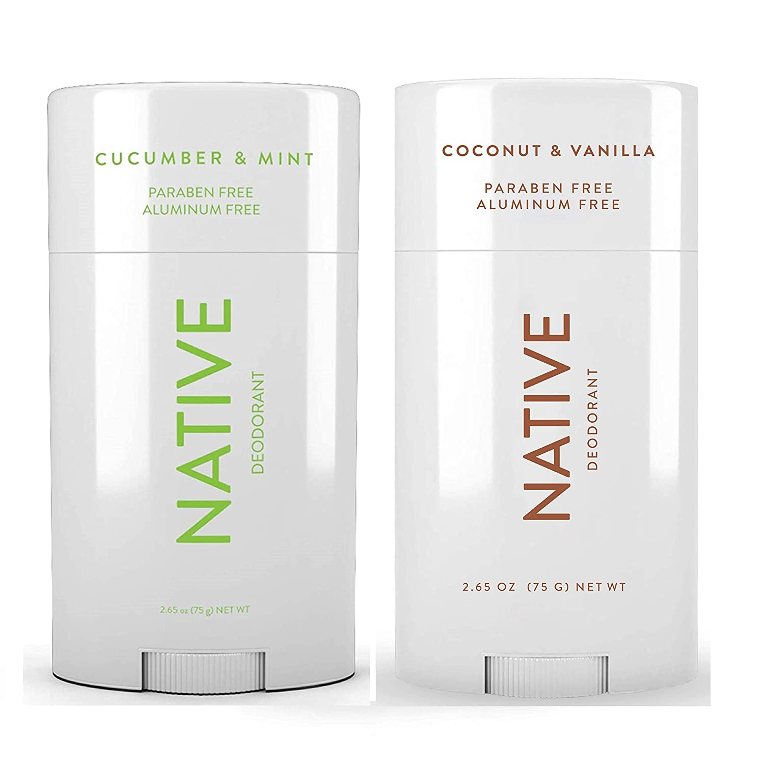 Native Deodorant - Natural Deodorant For Women and Men - 2 Pack - Aluminum Free, Free of Parabens - Contains Probiotics - Coconut & Vanilla And Cucumber & Mint