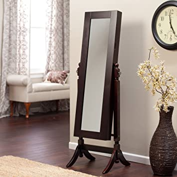 Jewelry Armoire Cheval Mirror   Full Length Floor Free Standing Dressing  Grooming Tilting Bedroom Home Furniture