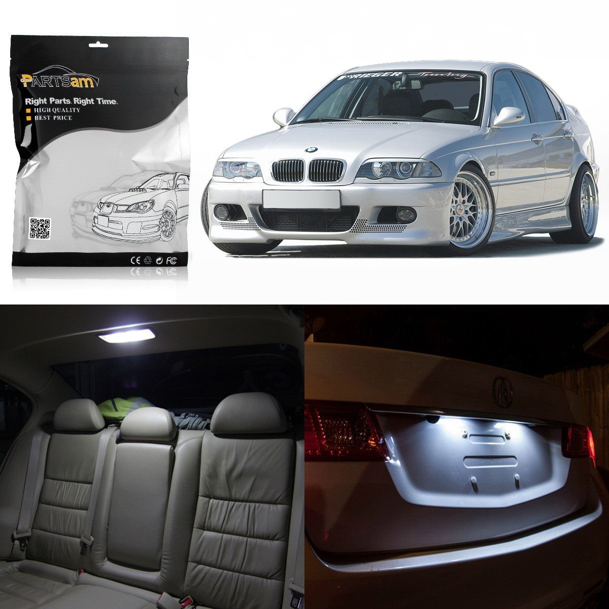 Partsam 1999 2005 Bmw E46 Sedan Wagon Coupe White Interior Led Light Package Kit 16 Pieces