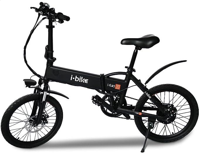 i-Bike Bicicleta eléctrica plegable con pedales asistidos, Hombre, Negro, 20