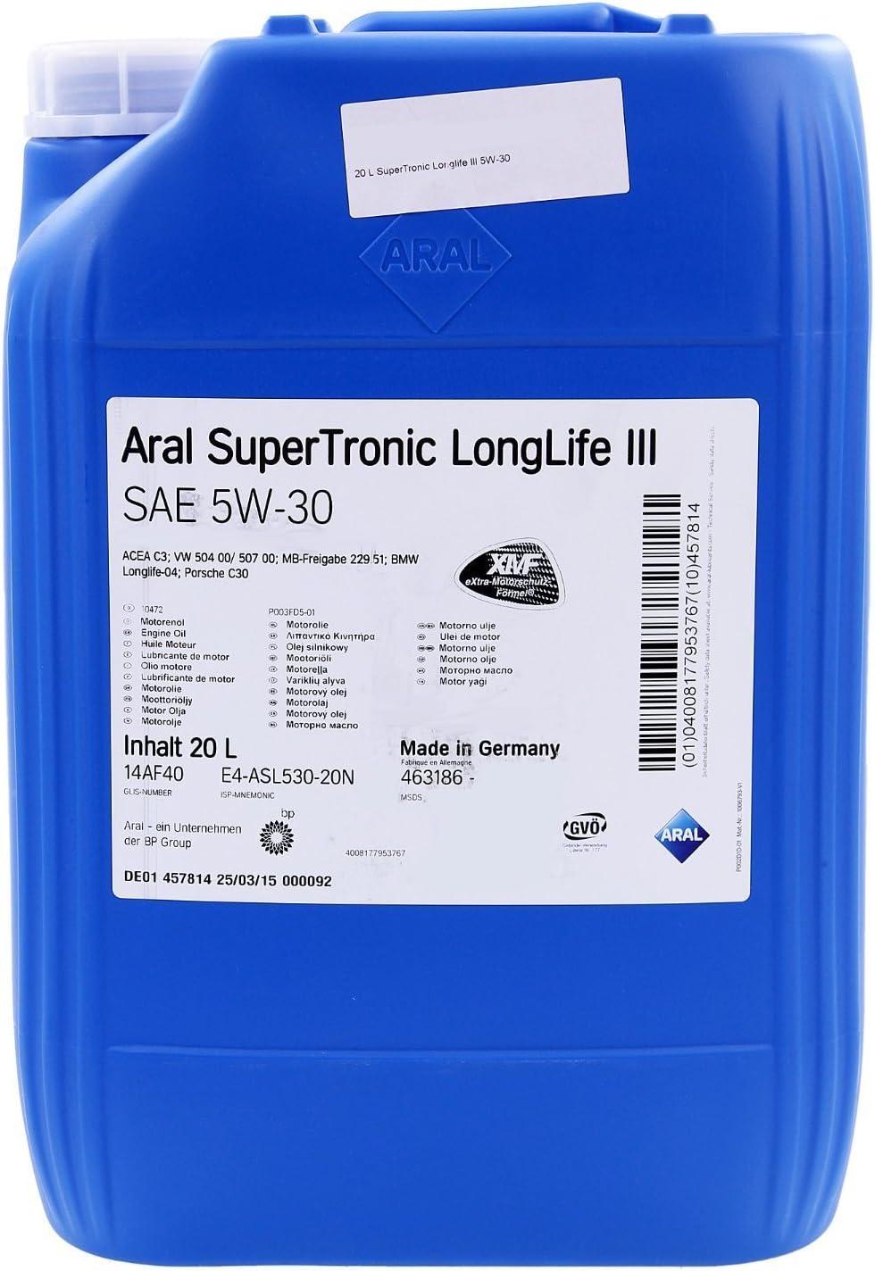 Aral Super Tronic Longlife Iii 5w 30 Motorenöl 20l Auto