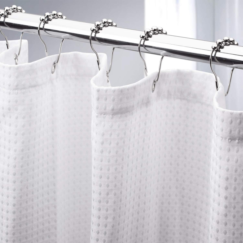 AmazerBath White Shower Curtain for Bathroom Waffle Shower Curtain 72x72 Inches Hotel Shower Curtain Machine Washable 230 GSM Heavy Duty White Honeycomb