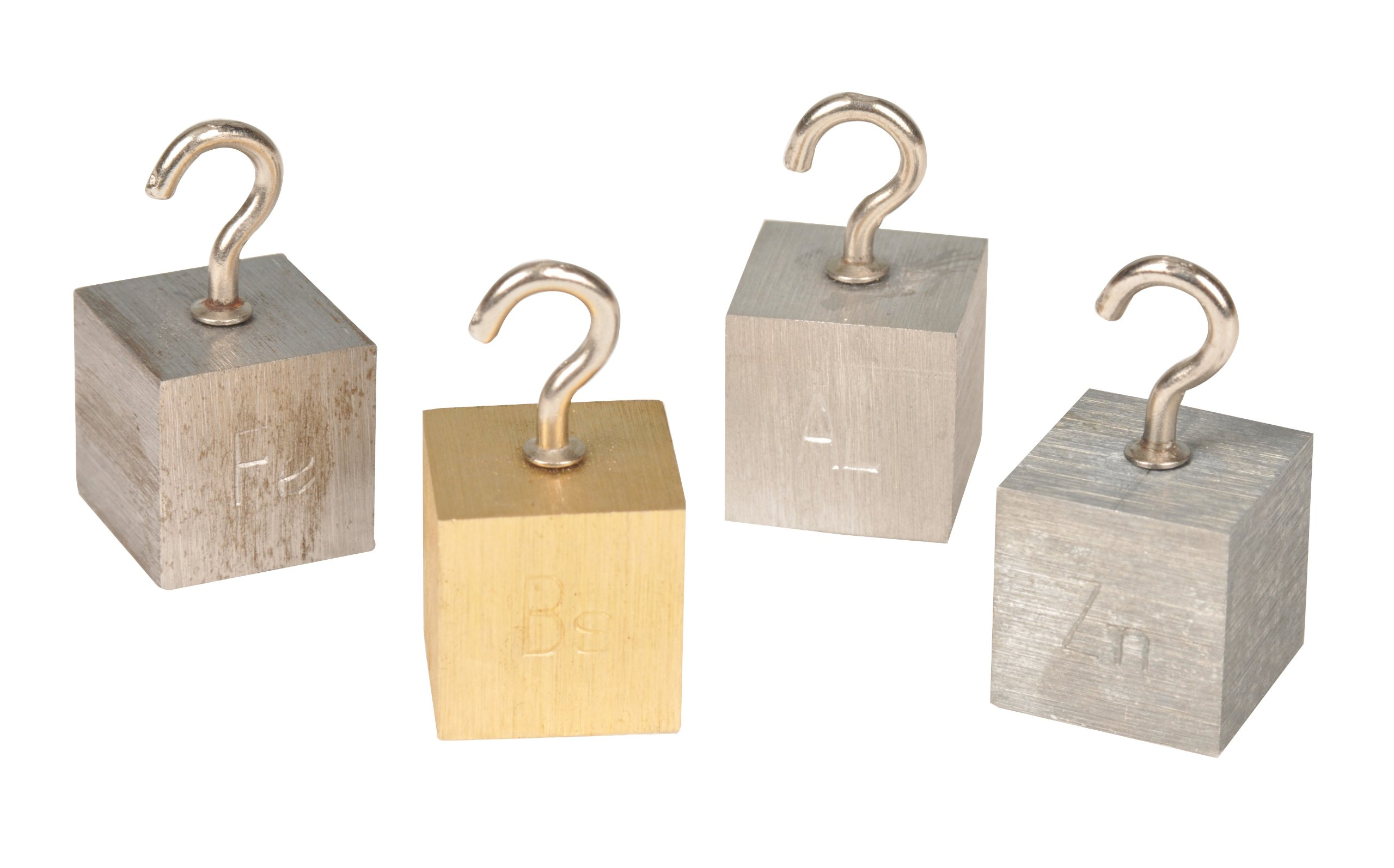 Density Cubes, Set of 4 Metals with Hooks, 1.26'' (32mm) sides - Aluminum, Brass, Lead, Steel - For use with Density, Specific Gravity, Specific Heat Activities - Eisco Labs