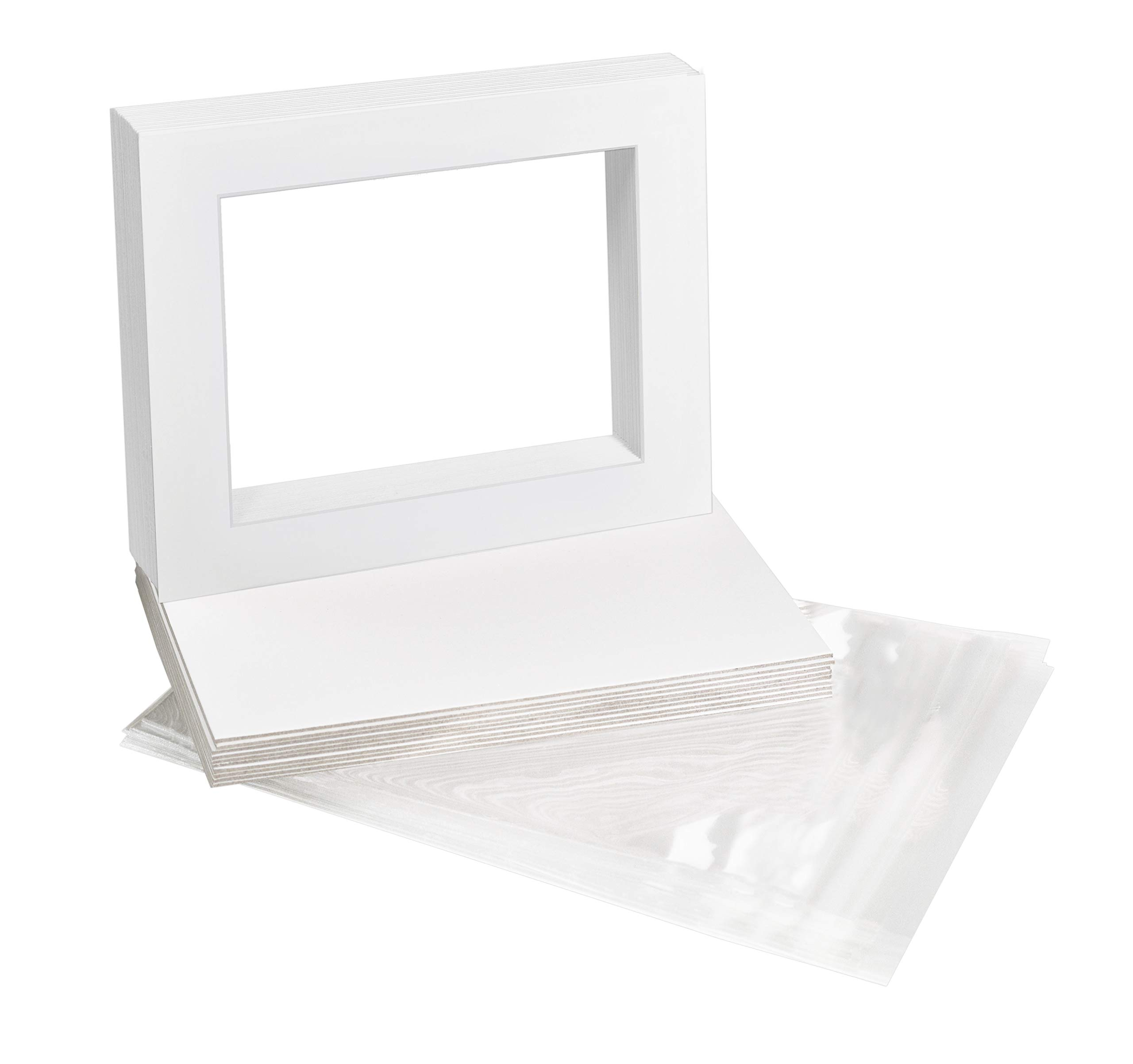 Golden State Art, Pack of 10, 11x14 White Picture Mat Full Set - Fit 8.5x11 Photo/Certificate - High Premier Acid Free Bevel Pre-Cut White Core Mattes - Includes 10 Backing Backer Board & Clear Bags by Golden State Art