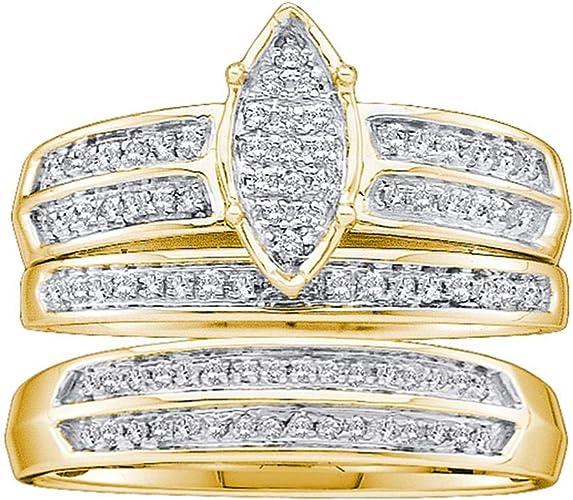 Amazon Com His Hers Matching Diamond Wedding Bands Set