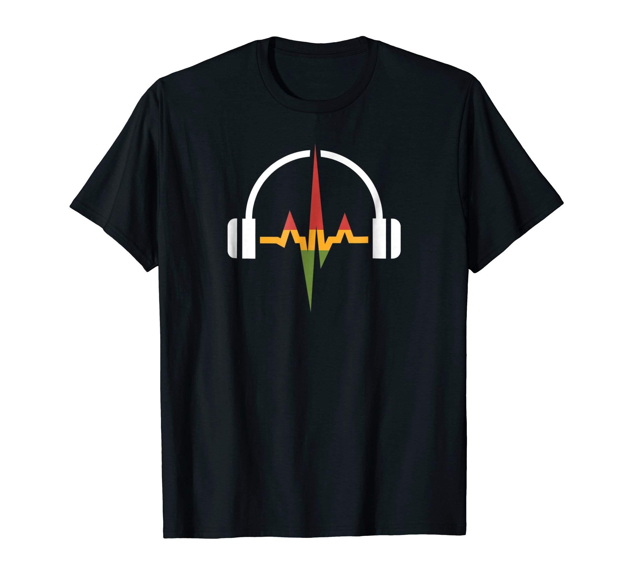Rasta Headphones And Music Wave T-shirt