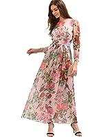 Floerns Women's Long Sleeve Chiffon Rose Print Spring Maxi dress