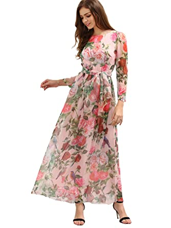 Floerns Women&-39-s Long Sleeve Chiffon Rose Print Spring Maxi dress ...
