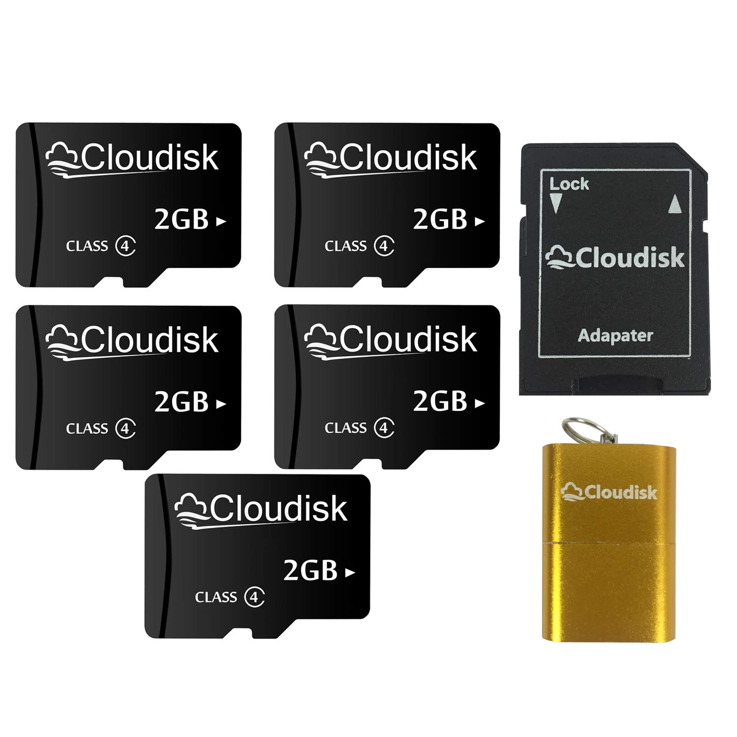 5Pack 2GB Micro SD Card 2 GB MicroSD Memory Card Class4,Bulk Sale