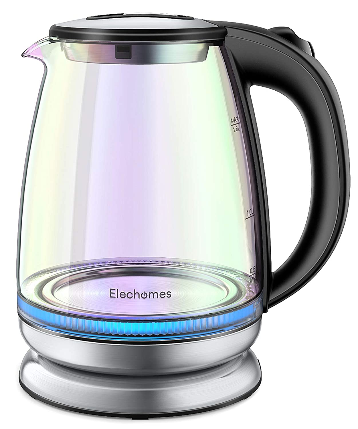 Elechomes Electric Kettle 1.8L Glass Hot Water Boiler Coffee Tea Heater BPA-Free Kettles with LED Indicator Light, Auto Shut-Off, Boil-Dry Protection, Stainless Steel Inner Lip