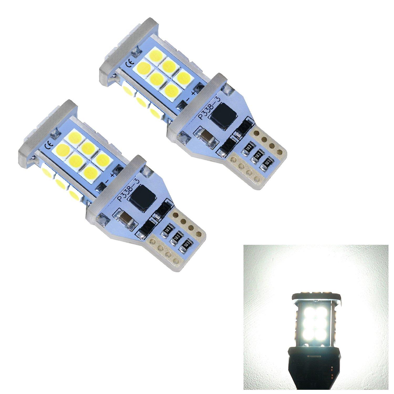 921 Led Bulb, Efocxcity 2 X 1550 Lumens Super Bright Error Free 921 912 W16W 3030 24-EX Chipsets LED Bulbs Used For Backup Reverse Lights Efoxcity