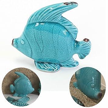 LS LebenStil Bad Deko Objekt Fisch Blau Türkis Figur Skulptur Maritim Bad  Accessoires