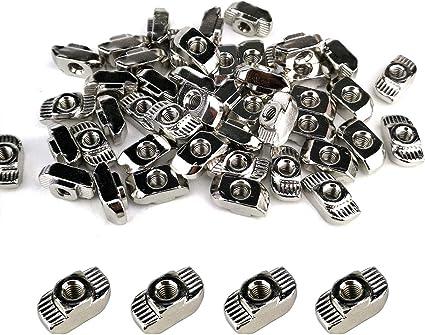alette in acciaio al nichel laminato nichelato Scanalatura a T scanalata 8mm Accessori per profilati in alluminio 3030 Serie Morse a T da 50 pezzi con bulloni M4