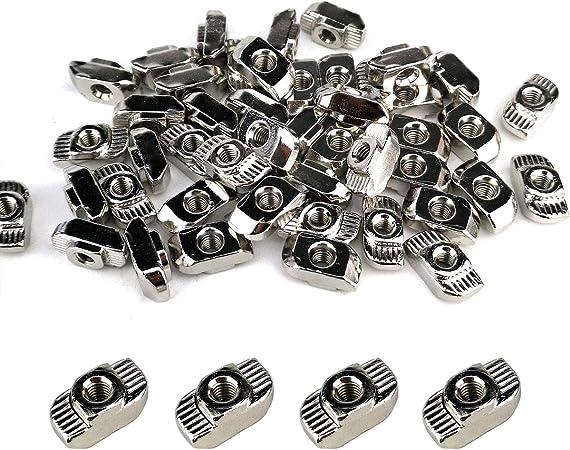 3030 S/érie 50 pi/èces M6 /écrous en T en acier au carbone demi-rond lamin/é dans une fente en T coulissante fente pour /écrou Accessoires profil/és en aluminium