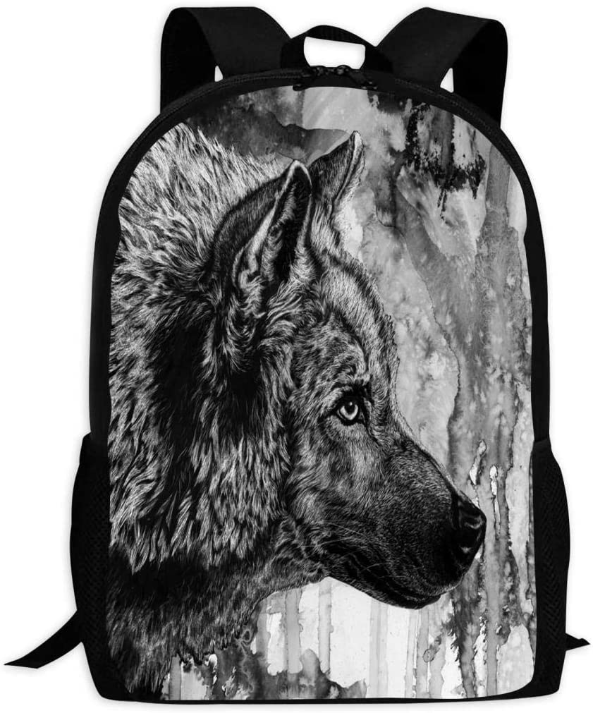 Black and White Art Wolf Print Oversized Backpack Casual Waterproof Adjustable Shoulder Strap Schoolbag for Teenagers and Adults
