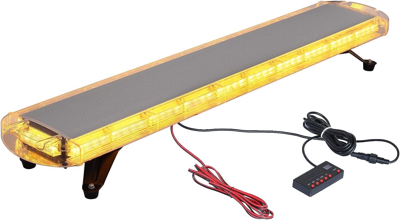 88LED Luz Emergencia del Coche 88W Luz de Advertencia del Estroboscópico 21 Modos de Flash LED Ámbar Impermeable con Interruptor de Control de Pantalla Digital para 12V 24V Vehículo Remolque Camión