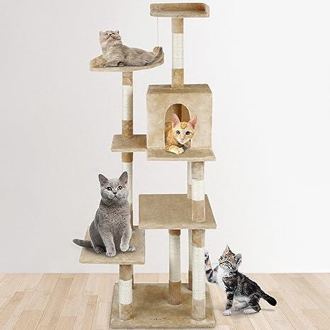 Leopet - Arbol rascador para Gatos - Altura 172 cm - Beis - con Cueva, Plataformas, Bola Colgante de Felpa