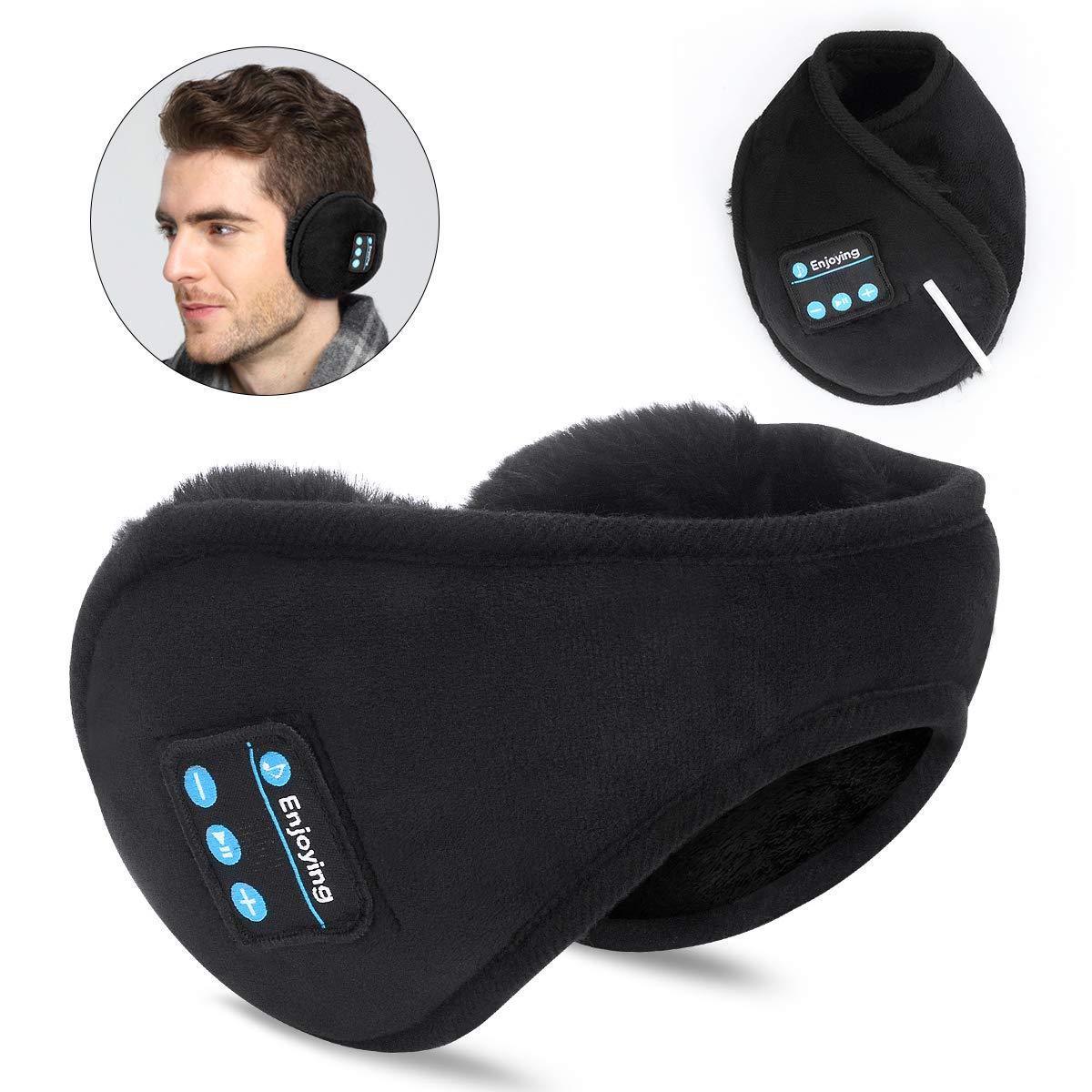 Bluetooth Earmuffs Headphones,SKYEOL Bluetooth 5.0 Wireless HD Stereo Music Ear Warmer, Foldable Wool Warmer with Mic Built-in Stereo Speakers for Winter Outdoor Men Women & Kids
