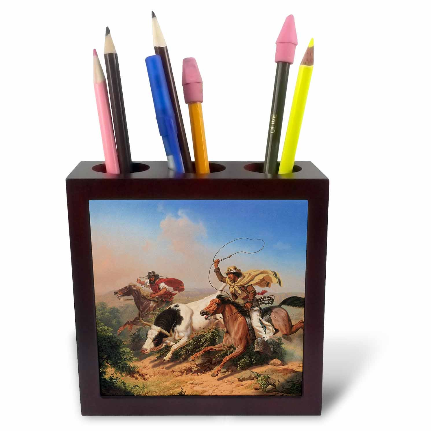 3dRose ph_126719_1 Vaqueros Roping a Steer by Charles Christian Nahl American West Tile Pen Holder, 5-Inch by 3dRose