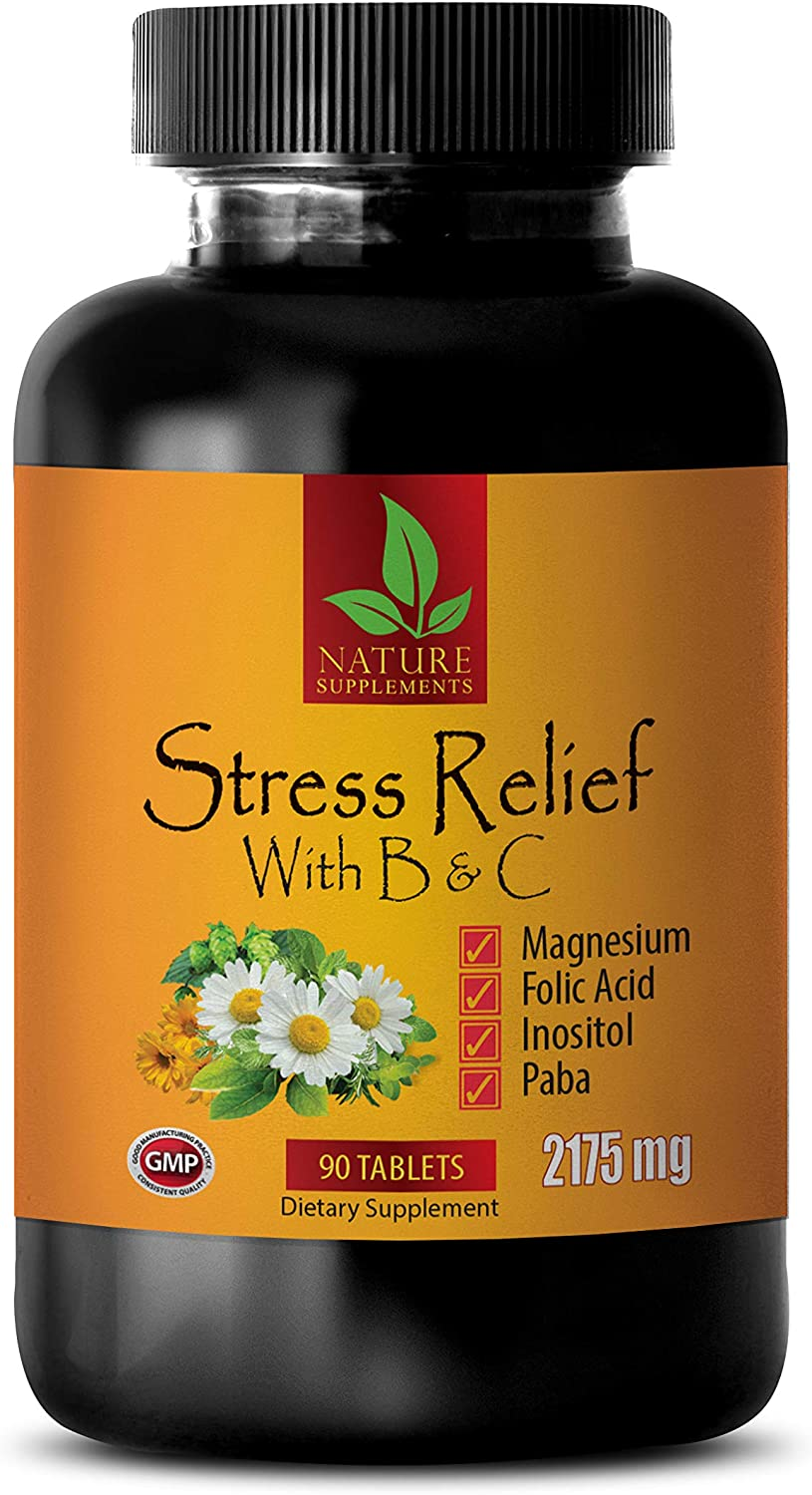 Mood Improvement Supplement - Stress Relief with B & C 2175 MG - Dietary Supplement - pantothenic Acid b Complex Vitamin - 1 Bottle 90 Coated Tablets