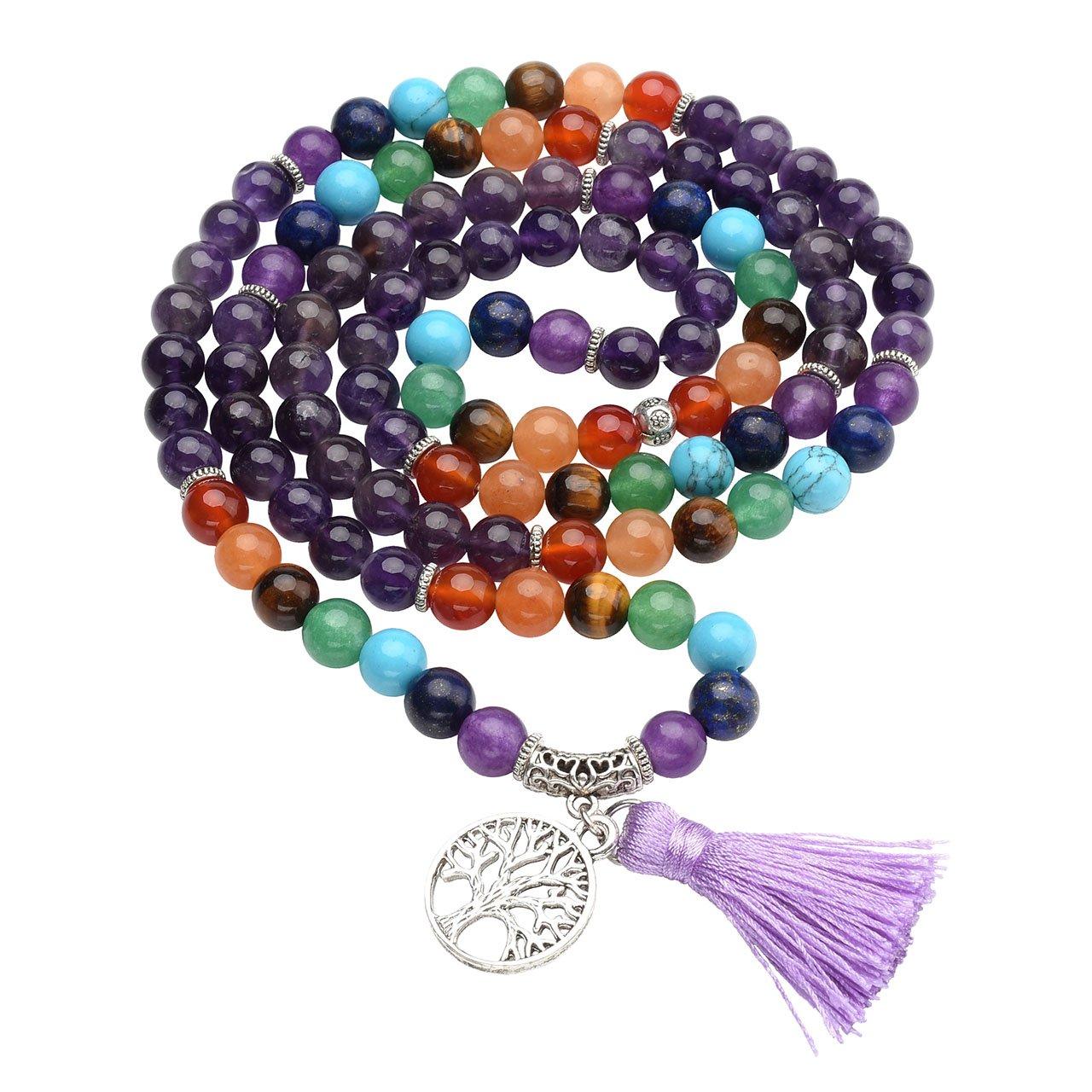 Top Plaza 7 Chakra Buddhist Mala Prayer Beads 108 Meditation Healing Multilayer Bracelet/Necklace W/Tree of Life Tassel Charm (Amethyst)