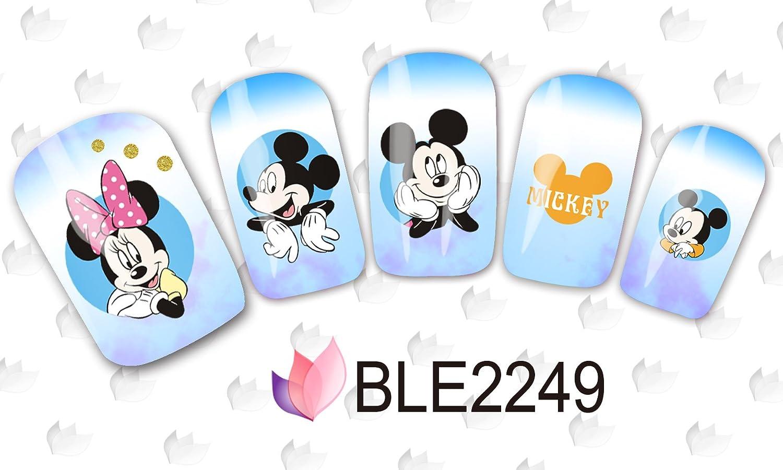 Dibujos animados Print Diseño–2Unidades–Clavo Pegatinas Dibujos animados Water Transfer Pegatinas Nail Art Agua Design–Clavo Tattoo, diseño Mickey Mouse Minnie ratón diseño–b2249 CartoonPrintDesign