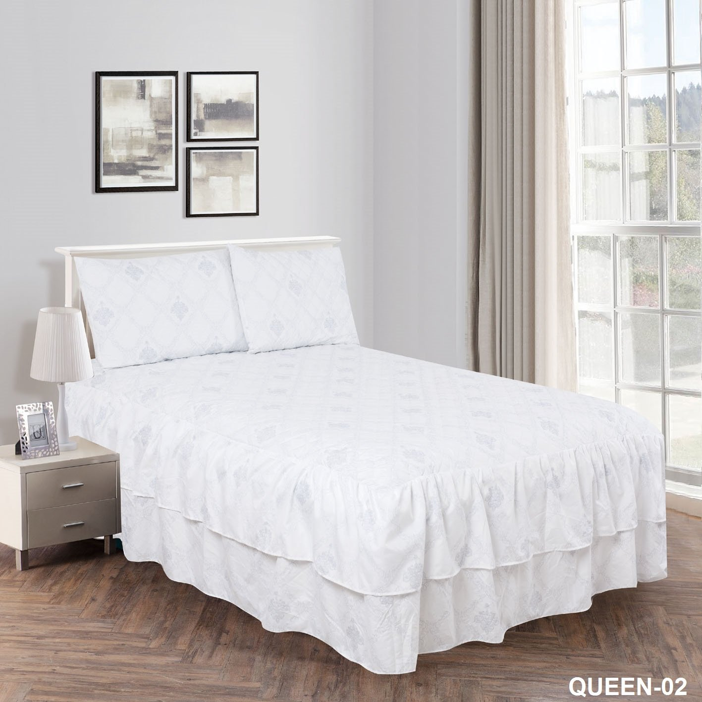3 Piece Ultrasonic Printed Bed Spread with Double Ruffles Bedspread Set (Design-2, King) Jenin