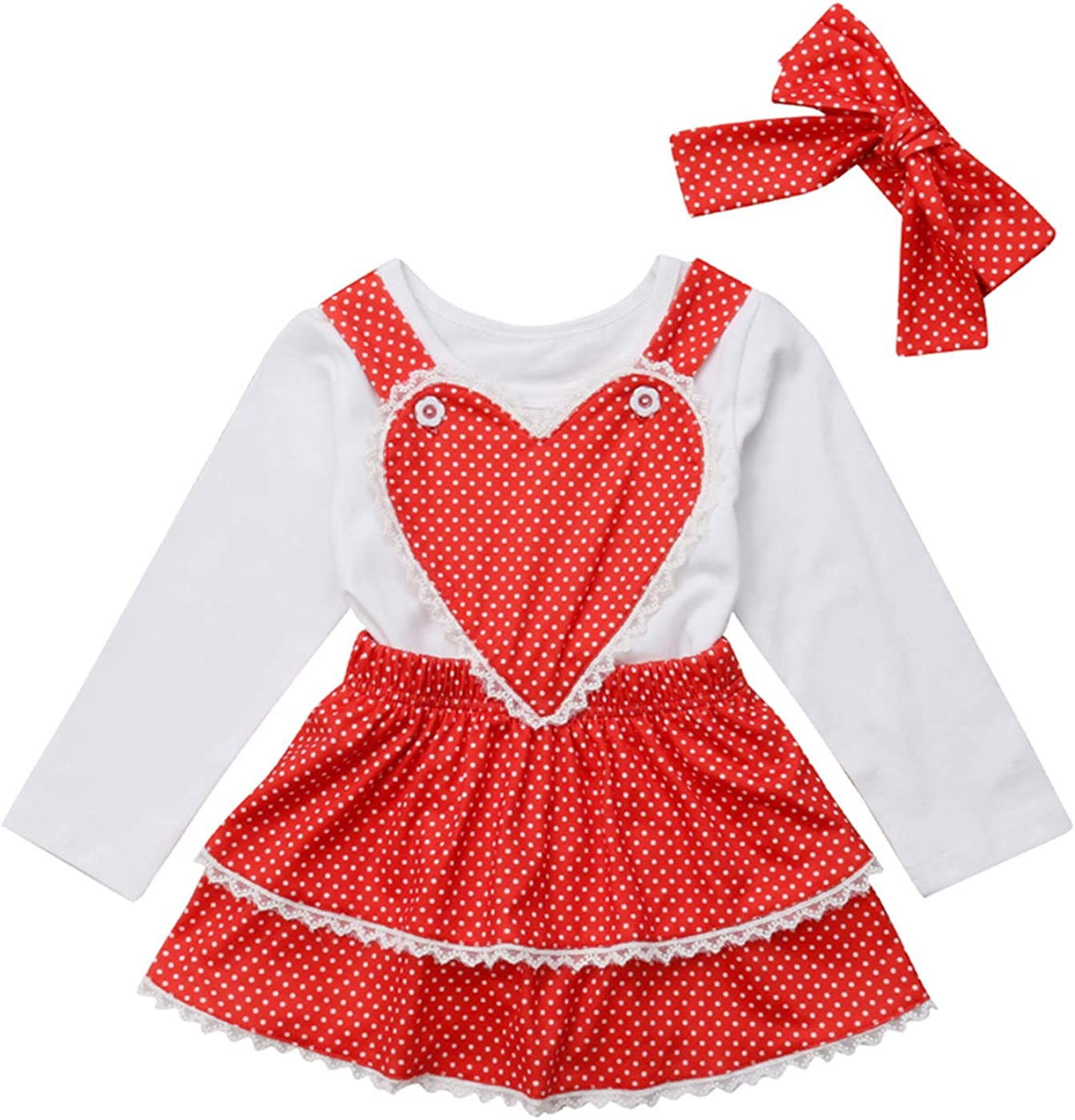 Toddler Baby Girl 3Pcs Valentines Day Outfit Long Sleeve Top+Suspender Red Dress and Headband