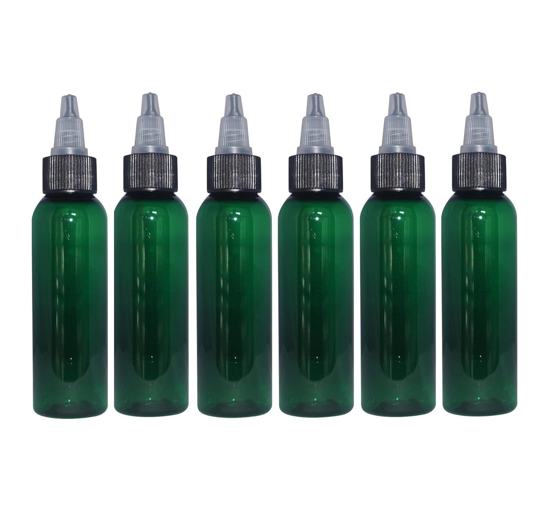(Pack of 6) - 2 oz Green Cosmo Bullet. Refillable, Empty PET Plastic Bottles w/Black Twist-Open (Yorker) Closure