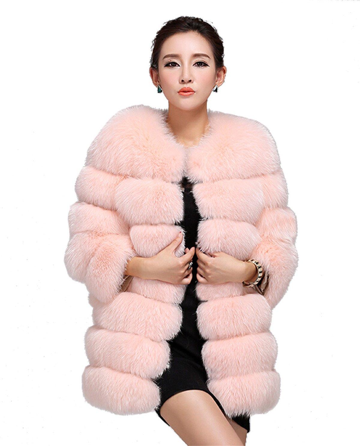 Top Fur Women's Genunine Fox Fur Whole Skins Eye-Catching Coat- INDIPINK, US 10