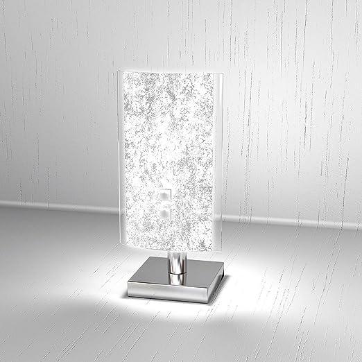Lampada Da Tavolo Moderna Bricka Lumetto Diffusore In Vetro Satinato Foglia Argento Abat Jour Scrivania Comodino Como Amazon It Illuminazione