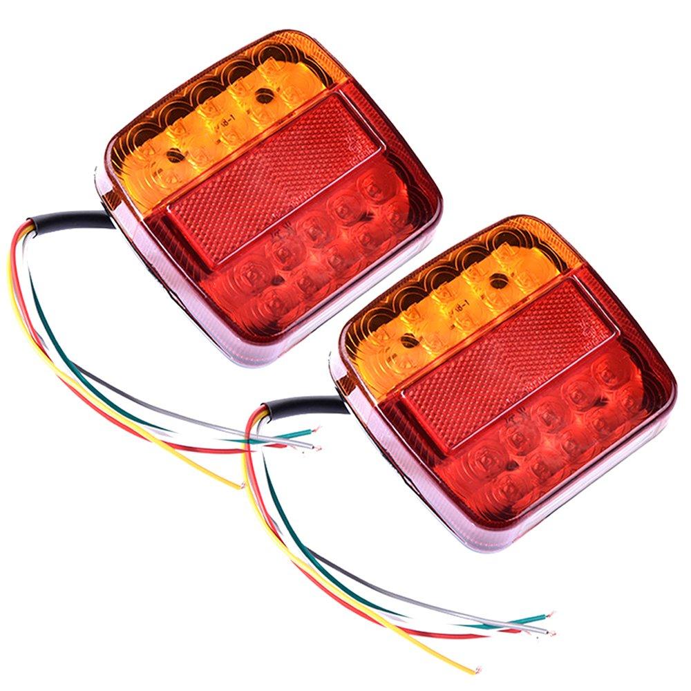 Tropicaleu 2PCS Luces Traseras LED 12V de Remolque Luz de Freno Indicador para Caravana Impermeable atrás para Coche Camión Camión Color Rojo Ambar WarmCare